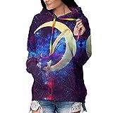 Marshall Darren Sailor Moon Luna Women Hoodies Tops Tie Dye Printed Long Sleeve Drawstring Pullover Sweatshirts with Pocket Print Cozy HoodiesSmall