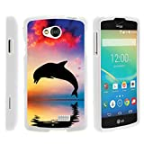 Compatible with LG Tribute Case | LG Optimus F60 Case | LG Transpyre Case [Slim Duo] Hard Shell Snap On Case Compact Fit Cover on White Sea Ocean by TurtleArmor - Dolphin Jump