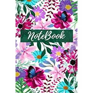 """Notebook For Women: Beautiful Floral, Multi-Colored Paperback Notebook, 6""""x 9"""", 160 Pages, Flowers, Cute Butterflies, For Office, School Supplies: Notebook For Women and Girls"""