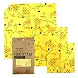 HomValor Beeswax Wraps-Set of 3 Reusable Bees Wax Food Wraps, Zero Waste Sustainable Storage for Sandwich, Cheese, Fruit, Bread, Snacks | Eco Friendly Alternative to Plastic Bags, Cling Wrap