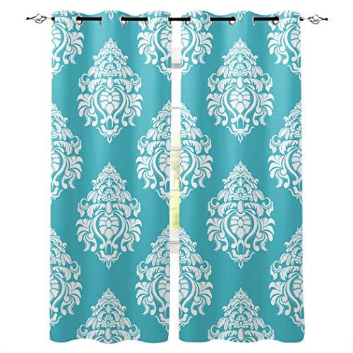 Knight Dream Room Cortinas opacas con ojales plateados, patrón clásico europeo verde oscurecimiento térmico cortinas para recámara/puerta corredera de cristal, poliéster y mezcla de poliéster, Clásico-006, 52x96inx2