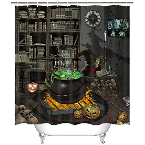 Scary Witches Cauldron Green Potion Witchy Shower Curtain