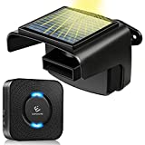 Solar Driveway Alarm Outdoor Wireless Driveway Detector with 650ft Range,Powered by Waterproof Solar PIR Motion Sensor,Security Alert System for Home/Office,No Need Replace Battery