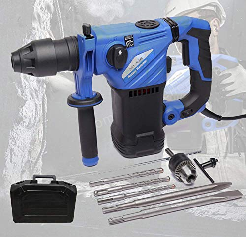 UWY SDS Plus Rotary Hammer Drill,1500W Combi Impact Drill Heavy Duty,6 Variable 360 ??& deg; Rotating Handle Speeds Hammer Drilling Chiseling 3 Modes in 1 Ideal for Stone Masonry Brick Metal & W