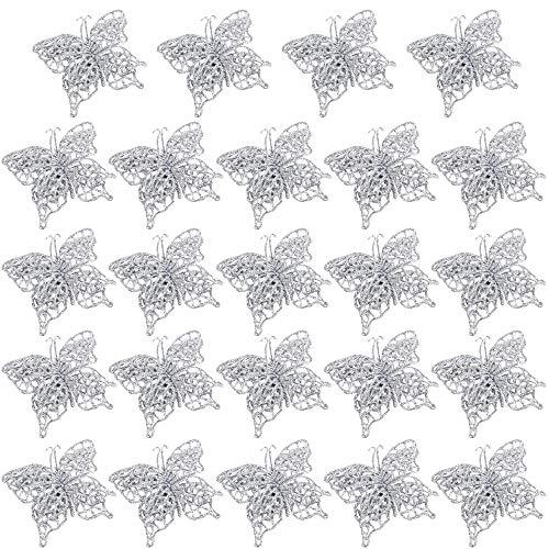 FLOFIA 24pz Ornamenti Farfalle per Albero di Natale Addobbi Natalizi Farfalle Glitter Scintillio Ciondoli Appessi Decorazione Natale Argento