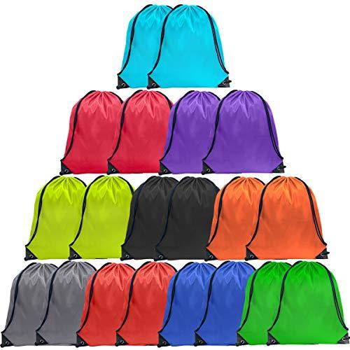 Drawstring Backpack Cinch Bag Drawstring Bags Bulk Draw String Sport Nylon Bag 10 Color (10 Color, 20PCS)