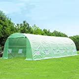 MELLCOM 26' x 10' x 6.6' Greenhouse Large Gardening Plant Hot House Portable Walking in Tunnel Tent,Green