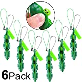 Gejoy 6 Pieces Fidget Bean Toy Funny Facial Expressions Soybean Key Ring for Reducing Stress and Anxiety