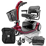 VICTORY 9 Pride 3-wheel Electric Scooter SC609 Red + Challenger Mobility Accessories