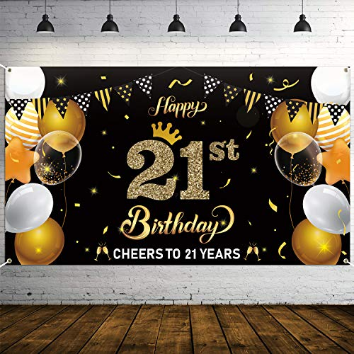 """WATINC Happy 21st Birthday Backdrop Banner Cheers to 21 Years Background Banners 78"""" x45"""" Extra Large Backdrops Balloons Black Gold PartyDecorationsSupplies for Indoor Outdoor Photo Booth Props"""