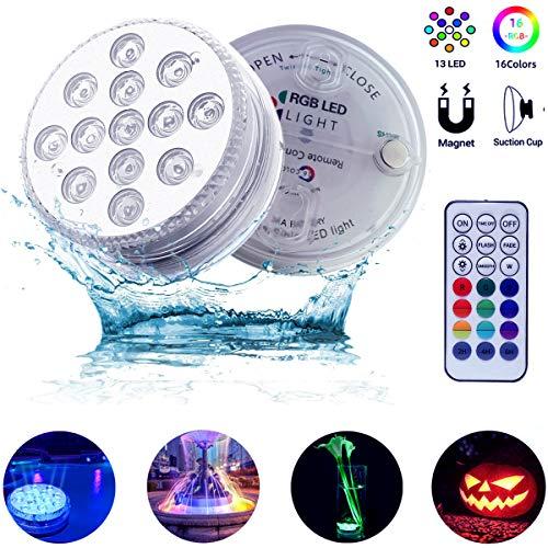 Poolbeleuchtung Unterwasser Led Licht IP68 Wasserdichte RGB Multi Farbwechsel mit RF Fernbedienung led lichter für Schwimmbad Garten Beleuchtung Badezimmer Vase Base Weihnachten Hochzeit(2 Stück)