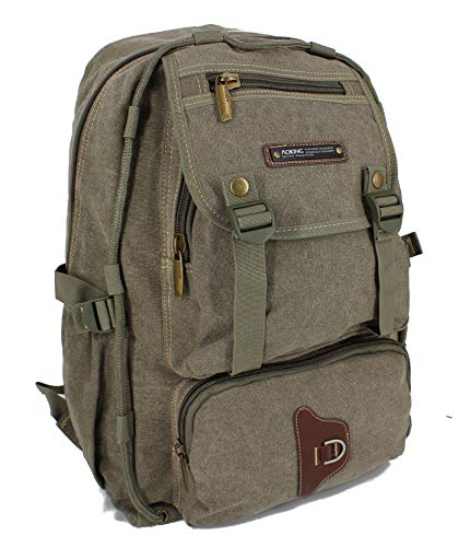 Zaino AOKING Canvas Zaino da escursionismo Outdoor Daypack Zaino sportivo in 3 colori (oliva)