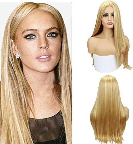 Peluca de pelo sintético de color rubio miel #27/613 de pelo sintético largo y lacio, 150 % de densidad, parte media, nuevo estilo para mujeres de 22 pulgadas