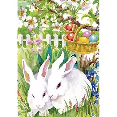 Morigins Easter Garden Bunny Eggs Decorative Double-Sided Spring Flag 12.5  x 18