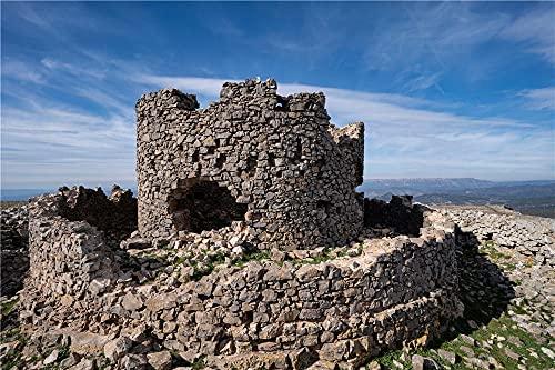 HJXLLZUANHH DIY 5D Diamantmalerei Nach Anzahl Kits Spain Castles Ruins Castell De La Mola Made of Kristall Strass Diamant Stickerei Bilder 30X40Cm