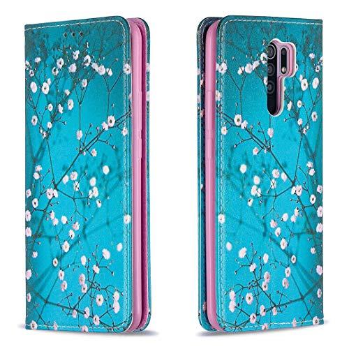 Miagon Brieftasche Hülle für Xiaomi Redmi Note 8 Pro,Kreativ Gemalt Handytasche Case PU Leder Geldbörse mit Kartenfach Wallet Cover Klapphülle,Blau Blume