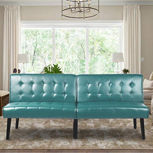 Aclumsy Futon Convertible Sofa Bed Loveseat Couch Faux Pu Leather, with 3 Level Individual Backrest, Green
