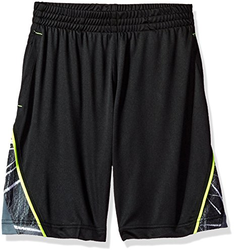 Spalding Big Boys' Core Athletic Short, Black/Lime, 14/16