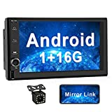 2021 OiLiehu Double Din Android Car Radio Stereo 7 inch Touch Screen with Mirror Link for Android & iOS Bluetooth Support GPS Navigation FM Radio Split Screen Display + 12 LEDs Rear View Camera