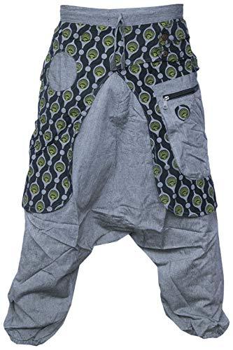 Gheri Aladdin Genie Baggy Drop Crotch Stylish Harem Eye Trousers Light Grey Large