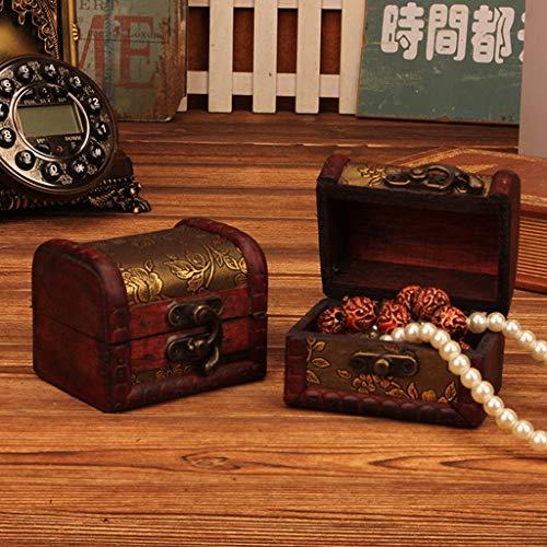 Wffo - Joyero de Madera Maciza, diseño Vintage, Hecho a Mano, con Mini Cerradura de Metal para Guardar Joyas y Tesoros (marrón)