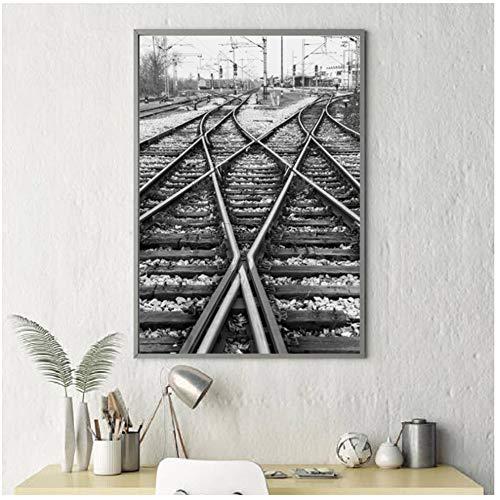 A&D rails spoorweg muurafbeelding canvas druk spoorbaan foto zwart-wit poster canvas schilderij muurschildering wooncultuur -50x70cmx1pcs -No Frame