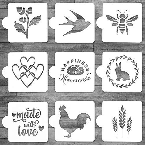 Thick Artisan Bread Stencils- Baking Stencils for Sourdough Bread and Cakes- Bee Stencil Rooster Stencil- 9 Designs- Premium Large Size- 5.25 x 5.25 in!