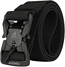JUKMO Tactical Belt, Military Rigger 1.5'' Nylon Web Duty Work Belt with Magnetic Quick Release Buckle (Black, Medium)