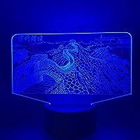 キッズナイトライト万里の長城ナイトライトナイトライト3Dオプティカルイリュージョンライト、16色とリモコンLEDテーブルデスクランプ誕生日プレゼント