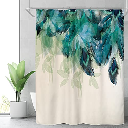 Riyidecor Watercolor Peacock Feather Shower Curtain for Bathroom Decor 72Wx72H Inch Teal Green Leaf Bathtub Accessories for Women Girl Vintage Turquoise Floral Panel Set Fabric Waterproof 12 Pack Hook