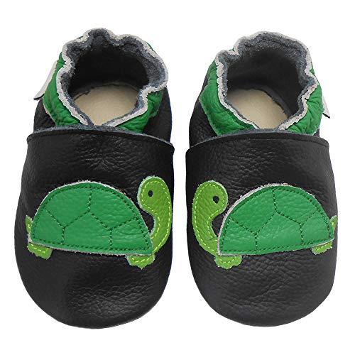 Bemesu Baby Krabbelschuhe Lauflernschuhe Lederpuschen Kinder Hausschuhe aus weichem Leder für Mädchen und Jungen Schwarz Schildkröte (S, EU 18-19)
