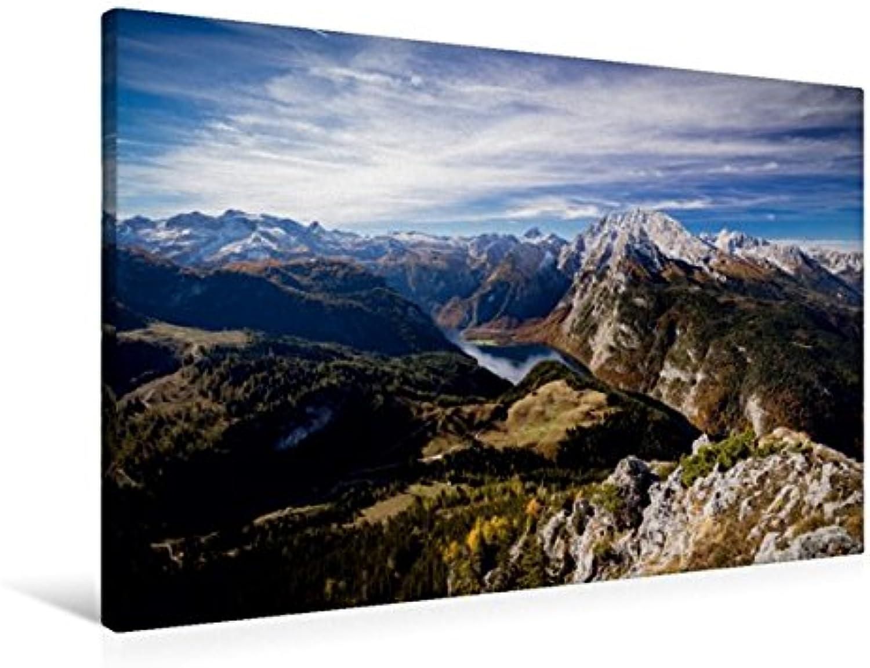 Calvendo Premium Textil-Leinwand 90 cm x 60 cm quer, Blick vom Jenner auf Knigssee und Watzmann im Berchtesgadener Land   Wandbild, Bild auf Keilrahmen. Leinwand, Leinwanddruck Natur Natur