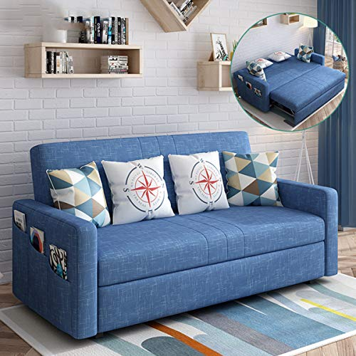 SND-A Folding Sofa Bed,Multifunctional Fabric Sleeper Couch,Pull Out Lazy Sofa Convertible Bed with Side Pocket,Comfortable Cushion Sofa for Living Room Apartment,Washable,denim blue,1.45M