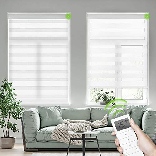 Yoolax Motorized Zebra Blinds Works with Alexa, Smart Dual Layer Shades with Privacy Light Control, Electric Horizontal Window Blind Customized Size for Home Office (Pure White)