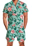 uideazone Men's Rompers Male Zipper Jumpsuit Shorts Aloha Tropical Flamingo Hawaiian Coconut Tree Printed One Piece Slim Fit Outfits Black Bro Short Sleeve Overalls
