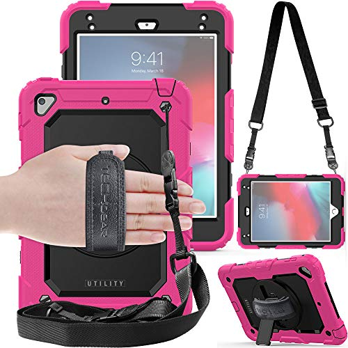 TECHGEAR UTILITY Case fits Apple iPad Mini 5th Gen 2019 / iPad Mini 4 Tough Rugged HEAVY DUTY Armour Shockproof Protect Case 360 Degree Rotating Stand, Hand Strap and Shoulder Strap Case - Pink