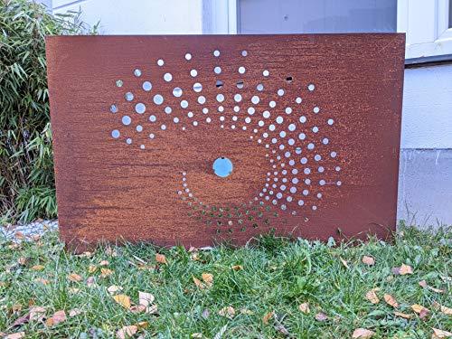 Zen Man Edelrost Garten Sichtschutz aus Metall 1mm Rost Gartenzaun Gartendeko Rost Sichtschutzwand (032101-1: L120 H75cm)