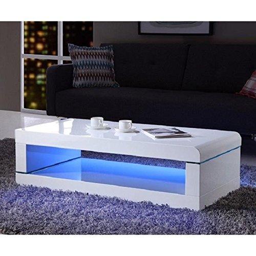 Générique Luz Table Basse 120cm laqué Blanc Brillant avec LED Multicolore