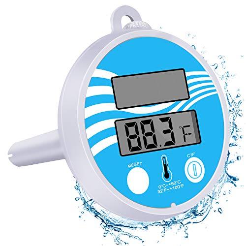 Bearbro Thermometre Piscine Solaire,Thermomètre pour Piscine, Thermomètre Flottant de Piscine,avec Une Corde, Résistant aux Chocs pour Tous Les & piscines, Spas, Hot Tubs, Aquariums & Les Étangs