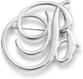 DEMDACO Letter Monogram Script Silvertone One Size Women's Zinc Alloy Fashion Brooch Pin
