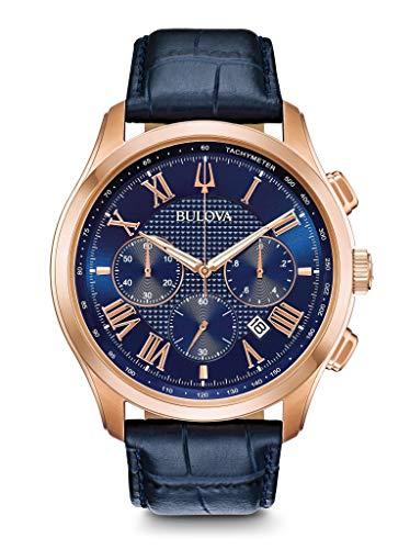 Bulova Herren Chronograph Quarz Uhr mit Leder Armband 97B170