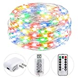 HSicily USB Plug in Fairy Lights with Remote Control Timer, 8 Modes 33ft 100 LED USB String Lights with Adapter,Multi Color LED Twinkle Lights for Christmas Bedroom Indoor Decoration …