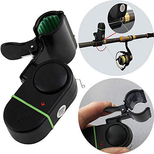 OurLeeme electrónica de LED Light Fish Bite Alerta de Sonido Clip en Herramienta de Rod Campana de Alarma Pesca