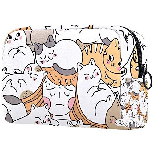 Bolsa de aseo con diseño de dibujos animados para mujer que duerme con gatos, gran organizador de maquillaje para hombres y mujeres