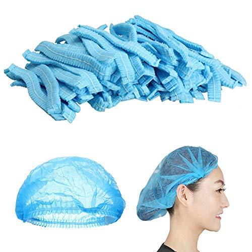 Mingjun - 100 gorras desechables no tejidas, elásticas, antipolvo, para el cabello, médicos, para médicos, laboratorios, enfermeras, tatuajes, servicio de comida, hospital