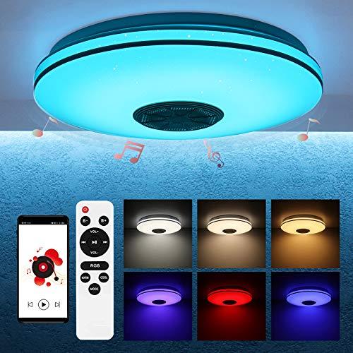 LMTXXS LED Musik Deckenleuchte mit Bluetooth Lautsprecher, 36W 5800Lm RGB Indoor Unterputz Deckenleuchte, Smart Control Warmweißes Sternlicht für Schlafzimmer Badezimmer, Fernbedienung Enthält