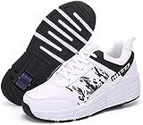 XRDSHY Calzado Deportivo Zapatillas De Skate De Una Sola Rueda Zapatillas con Ruedas Zapatillas De Deporte Zapatillas De Entrenamiento con Ruedas con Botón Ajustable,White-32