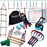 Ninja Warrior Obstacle Course for Kids - 50 ft Slack Line 8 Obstacles – Ninja Slackline Obstacle Course for Kids Backyard – Ninja Warrior Training Equipment for Kids Monkey Bars, Monkey Ladder & More!