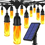 JosMega Solar Flickering Flame String Lights Outdoor 27 Feet Upgraded USB Charged Waterproof Decorative Hanging Patio Lights Outside Lights 10 LED String Lighting for Party Garden Patio Backyard