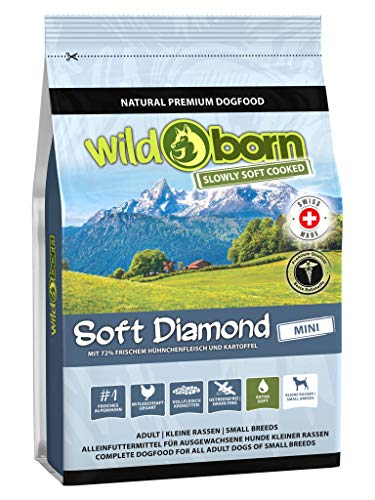 Wildborn getreidefreies Hundefutter Soft Diamond Mini 1 kg Softfutter für kleine Hunde | mit 72% frischem Schweizer Alpenhühnchenfleisch
